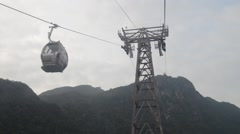 Inside View Langkawi Cable Car Approaching Pylon Stock Footage