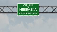 Stock Video Footage of 4K Passing Nebraska USA State Border Welcome Road Sign with Matte 1 neutral