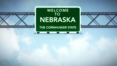 4K Passing Nebraska USA State Border Welcome Road Sign with Matte 2 stylized. Stock Footage