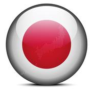 Map with Dot Pattern on flag button of State of Japan - stock illustration
