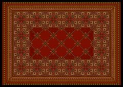 Luxurious ornament in red shades for classic carpet - stock illustration