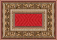 luxurious oriental carpet with original pattern - stock illustration