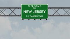 4K Passing New Jersey USA State Border Welcome Road Sign with Matte 1 neutral Stock Footage