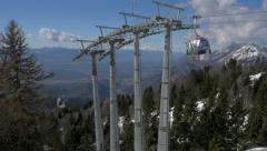 Aerial - Mountain cable cars ascending and descending Stock Footage