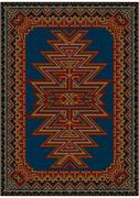 Bright oriental carpet with original pattern on a blue background - stock illustration