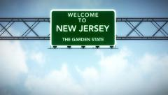 4K Passing New Jersey USA State Border Welcome Road Sign with Matte 2 stylize Stock Footage