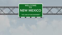 4K Passing New Mexico USA State Border Welcome Road Sign with Matte 1 neutral Stock Footage