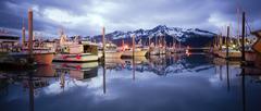 Boats on Smooth Resetrection Bay Seward Alaska Harbor Marina Stock Photos