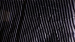 Light background black white stripe fabric wrinkled texture motion video Stock Footage