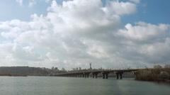 Time Lapse of Clouds under the Road Bridge - Paton Bridge under the River Dnepr Stock Footage
