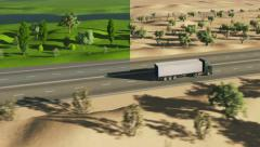 Truck driving on a road at four seasons change Stock Footage