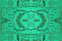Green symmetrical electronic microcircuit taken closeup.Background. - stock photo