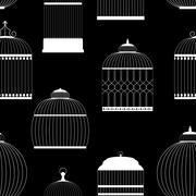 Vintage Birdcages Silhouettes Seamless Pattern Vector Illustrati Stock Illustration