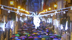 christmas and sales time: shopping in Rome - stock footage