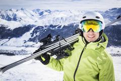 Young successful men ski mountain winter resort Kuvituskuvat