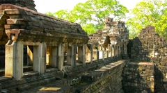 Crumbling Ancient Architecture at Angkor Wat in Cambodia Stock Footage