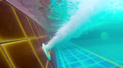 Underwater Shot of Pool Jet Blowing Bubbles Stock Footage
