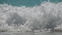 Beautiful sparkling waves Ionian sea, Island landscape, Summer holiday beach. Stock Footage