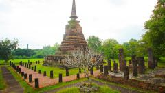 Ancient Buddhist Temple Ruin in Southeast Asia Stock Footage