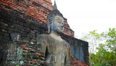 Buddha Statue at Temple Ruin in Sukhothai, Thailand Stock Footage