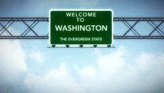 4K Passing Washington USA State Border Welcome Road Sign with Matte 2 stylize - stock footage