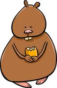 funny hamster cartoon illustration - stock illustration