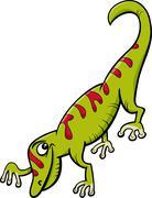 gecko reptile cartoon illustration - stock illustration