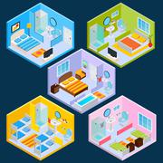 Isometric Hotel Interior - stock illustration