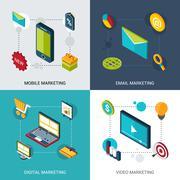 Stock Illustration of Marketing Isometric Set