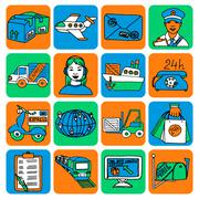 Logistic cartoon icons color - stock illustration