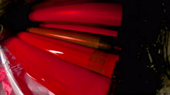 4K offset print machine printing press rollers, magenda red color drum. UHD s - stock footage