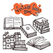 Books Set Black And White - stock illustration