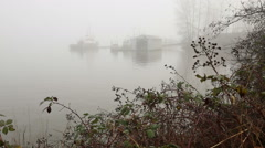Workboats at Dock, Fraser River Fog Stock Footage