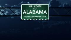4K Passing Alabama USA State Border Welcome Road Sign at Night with Matte 2 s - stock footage