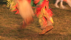 Variety of moccasins dancing and colors at a Native American pow wow Stock Footage