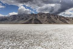 Mojave Desert Salt Flat with Storm Sky - stock photo