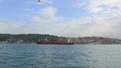 Large cargo ship Stock Footage