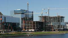 4K Commercial Construction Pan Stock Footage