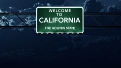 4K Passing California USA State Border Welcome Road Sign at Night with Matte  Stock Footage