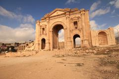 Hadrian's Arch,Jarash Jordan - stock photo