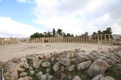 Oval Plaza,Jarash Jordan - stock photo