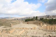 Oval Plaza,Jarash Jordan - stock photo