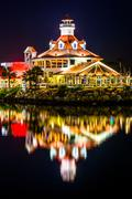 Parker's Lighthouse at night, in Long Beach, California. - stock photo