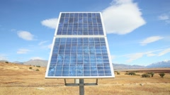 Solar panel set in Patagonian steppe - stock footage