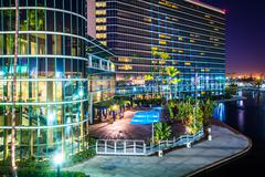 Stock Photo of View of a modern building and Rainbow Lagoon Park at night, in Long Beach, Ca