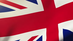 United Kingdom flag waving in the wind. Looping sun rises style.  Animation loop - stock footage