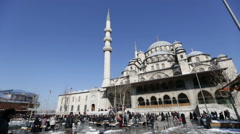 time lapse fountain with Yeni Cami Mosque - stock footage