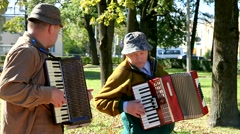 Musicians playing accordions. Stock Footage