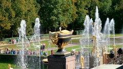 The fountains in Peterhof Stock Footage