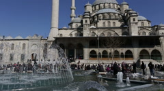 Fountain with Yeni Cami Mosque Stock Footage